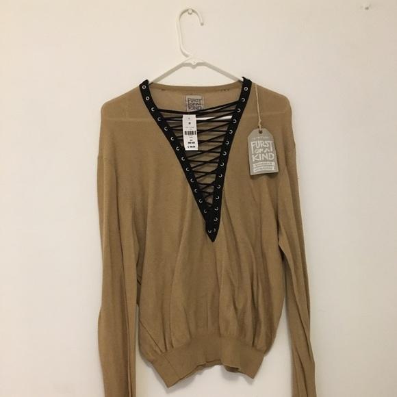 44e921828d7 Furst of a kind LF beige lace up sweater top nude